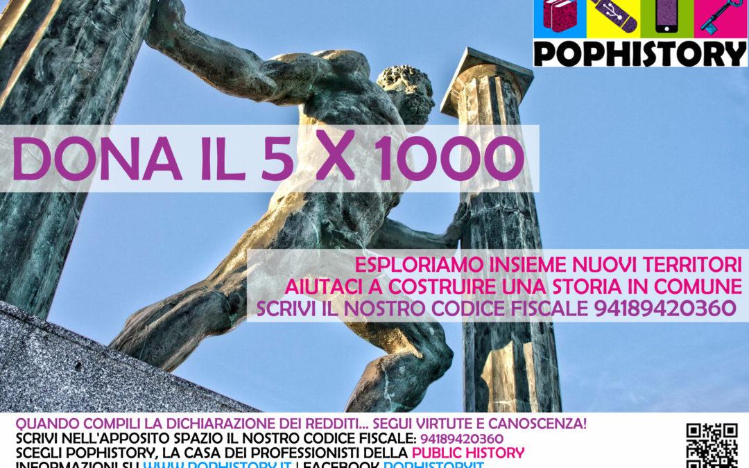 Dona il 5×1000 a PopHistory, aiutaci a costruire una storia in comune